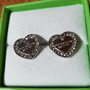 Michael Kors Earrings Silver Tone Heart